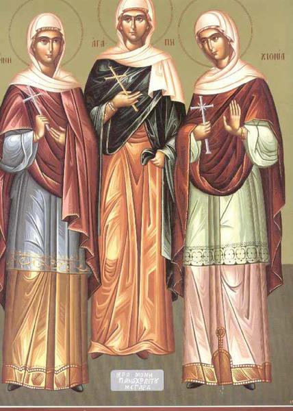 Sfintele Mucenite Agapi, Hionia si Irina (Pomenirea mortilor)