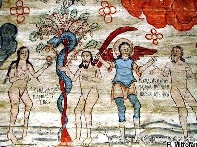Biserica de lemn Sfintii Arhangheli din Cupseni - Pacatul originar si Izgonirea din Rai